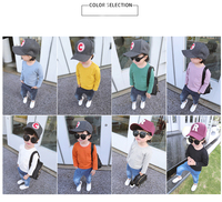XM-5002 solid color plain long sleeve baby t shirt blank kid t shirt