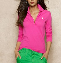 Womens Long-Sleeved Pima Cotton Polo