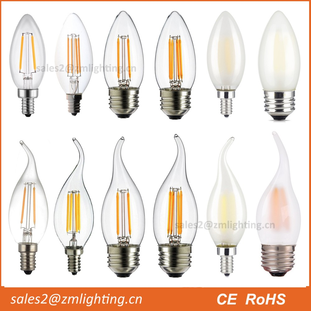 High quality 2w 3w 4w daylight led filament bulb light , small e14 led candle bulb light