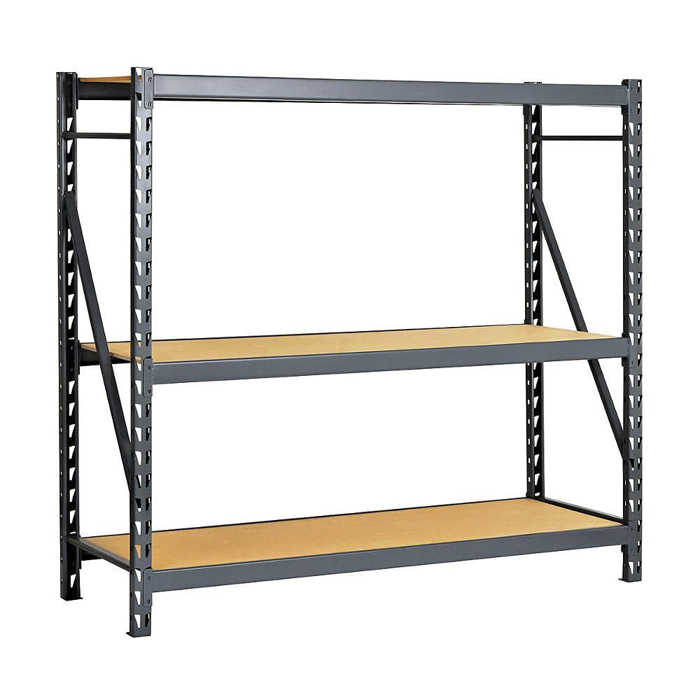 """Edsal ERP723672S E-RACK Bulk Storage Rack with Particle Board Decking, Starter Type, 3 Shelves, 2000 lb. Capacity, 72"""" W x 36"""" D x 72"""" H, Industrial Gray"""