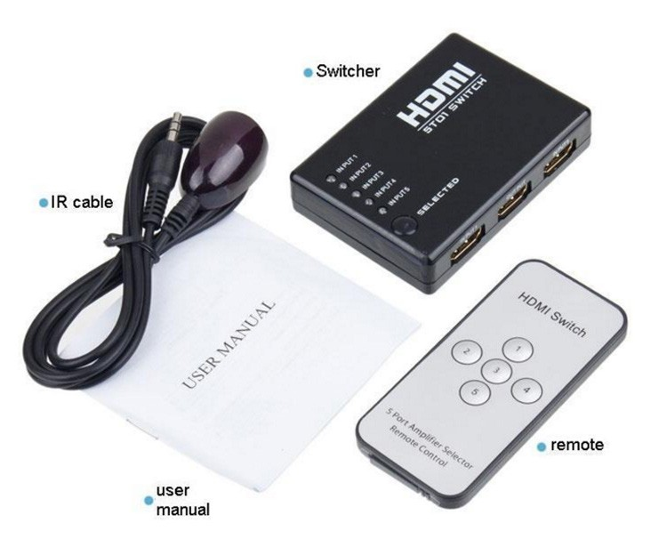HDMI switch box 5 in 1out with remote control