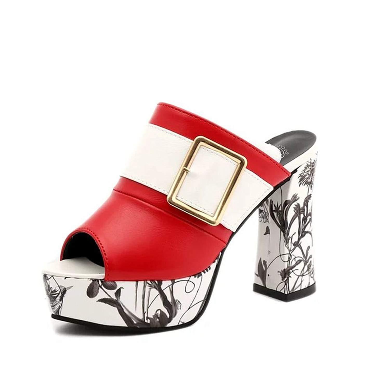 46cc37b0190 Get Quotations · AVENBER Women s Slide Sandals Block Chunky Heel Platform  Peep Toe Slip on Mules Clogs Summer Shoes