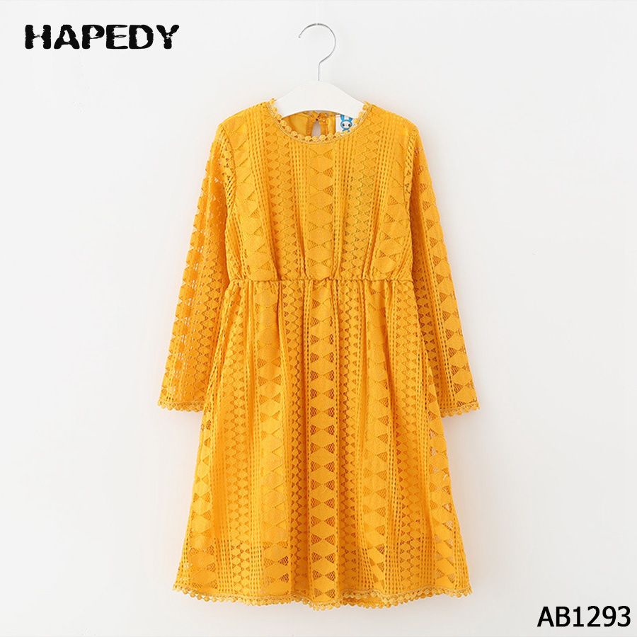 Fashion Vintage Lovely Girl Cotton Long Sleeve Lace Princess Dress