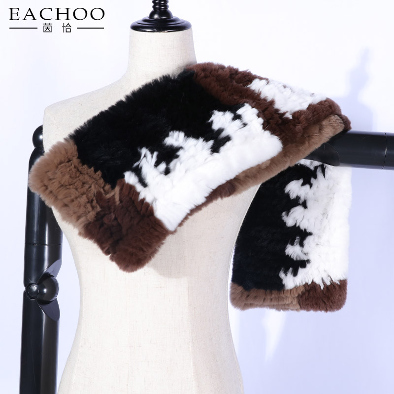 EACHOO Womens Winter Warm Genuine Rex <strong>Rabbit</strong> Fur Long Scarf pom pom Neck Warmer