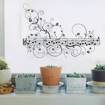 Black Rhythm Music Note Wall Stickers Removable Vinyl Decal Room Decorations Art Decals