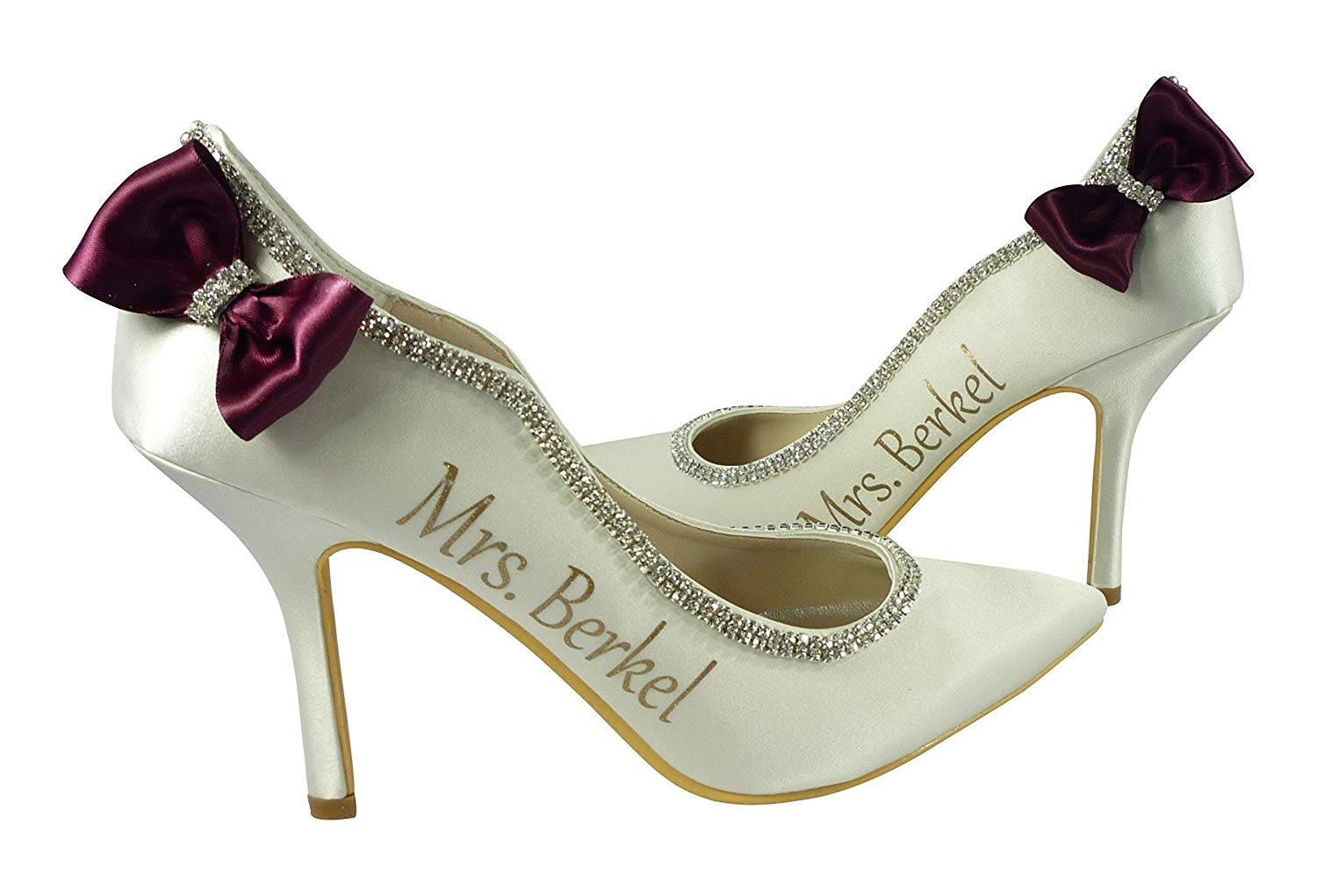 c135d406193b Get Quotations · Wine Scarlet Red and Gold Custom Ivory 3.75 inch heel for  Bridal Shoes