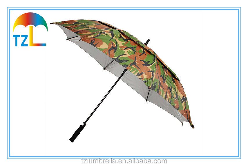 64 Inch Automatic Golf Umbrella / Two Layer Camouflage Hunting Anti UV