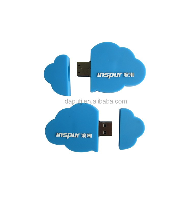 cloud shaped Customized PVC usb stick with your logo, PVC made couldy usb key 1gb,Relief logo usb clouds usb pen