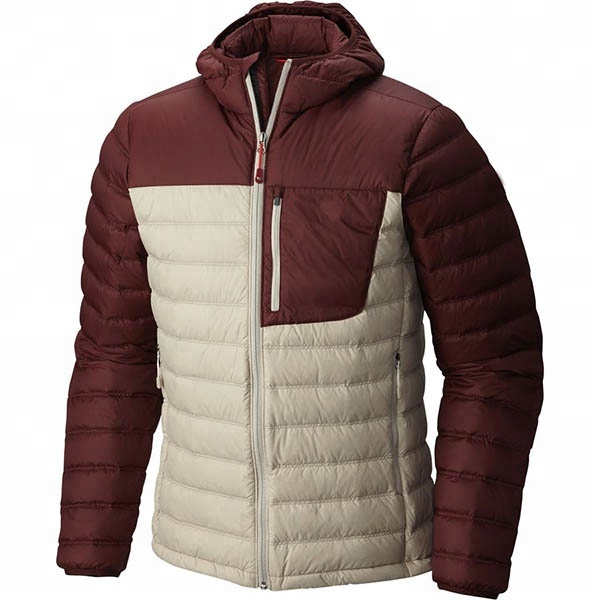 China wholesale winter outdoor goose duck down ski skiing padding light thin down dawn plain jacket with hoodies