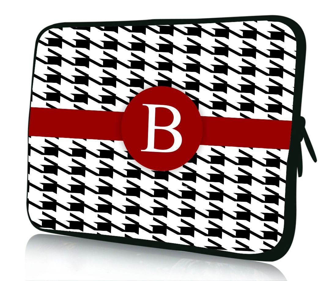 """10 inch Rikki Knight Letter """"B"""" Burgundy Houndstooth Monogram Design Laptop sleeve - Ideal for iPad 2,3,4, iPad Air, Galaxy Note, Small Notebooks and other Tablets"""