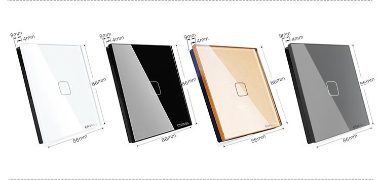 80 Тип CNSKOU стандарт ЕС 3 Gang 2 Way AC220 ~ 250 В закаленное стекло панели Home Touch светодио дный кнопки с подсветкой датчик освещенности переключение