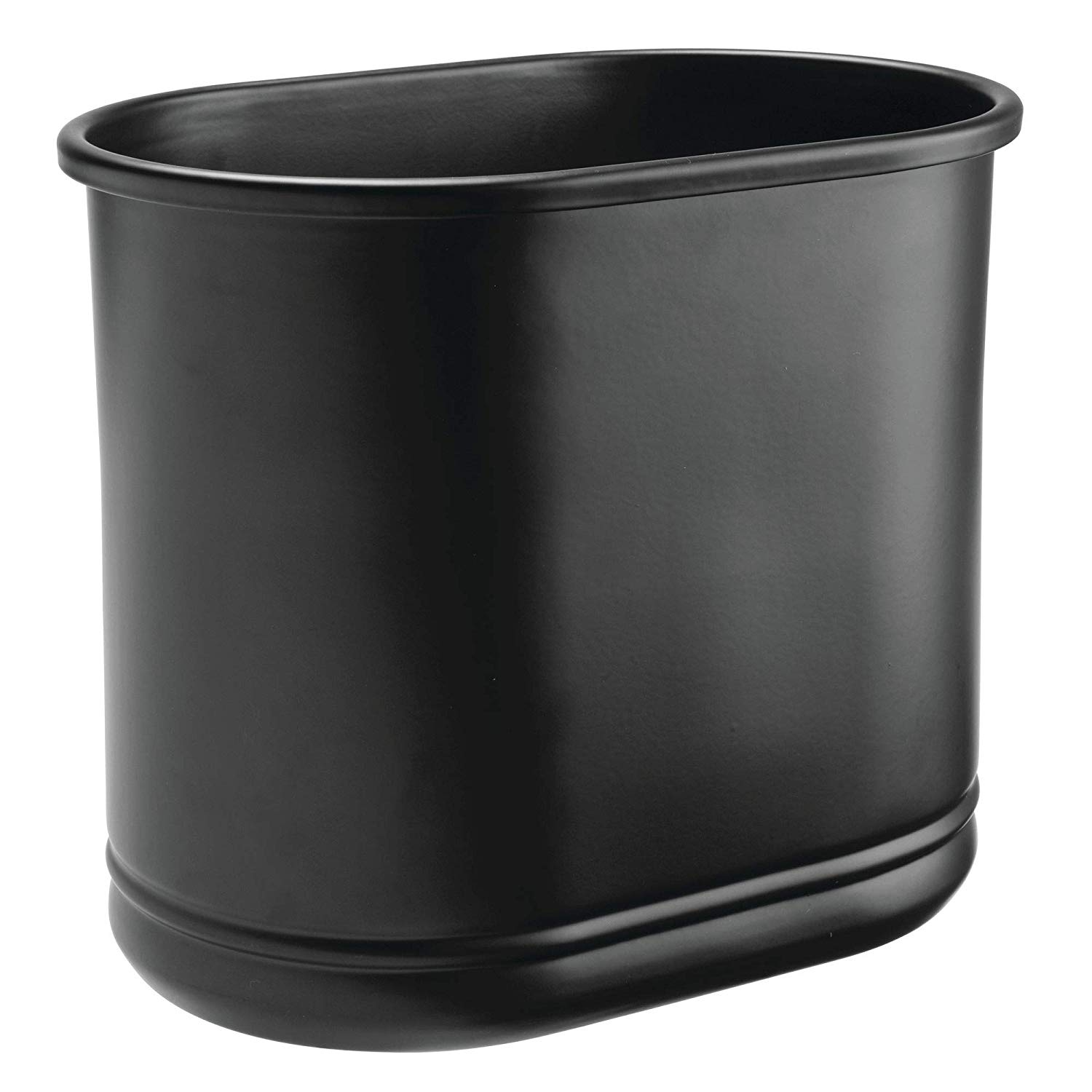 Get Quotations · MDesign Slim Oval Metal Trash Can, Small Wastebasket,  Garbage Receptacle Bin For Bathrooms,