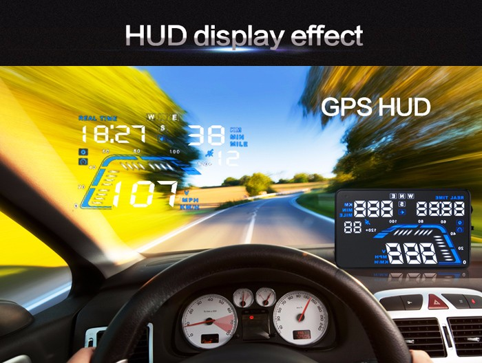 Universal Auto Car GPS HUD Head Up Display Over Speed Warning Speedometer System