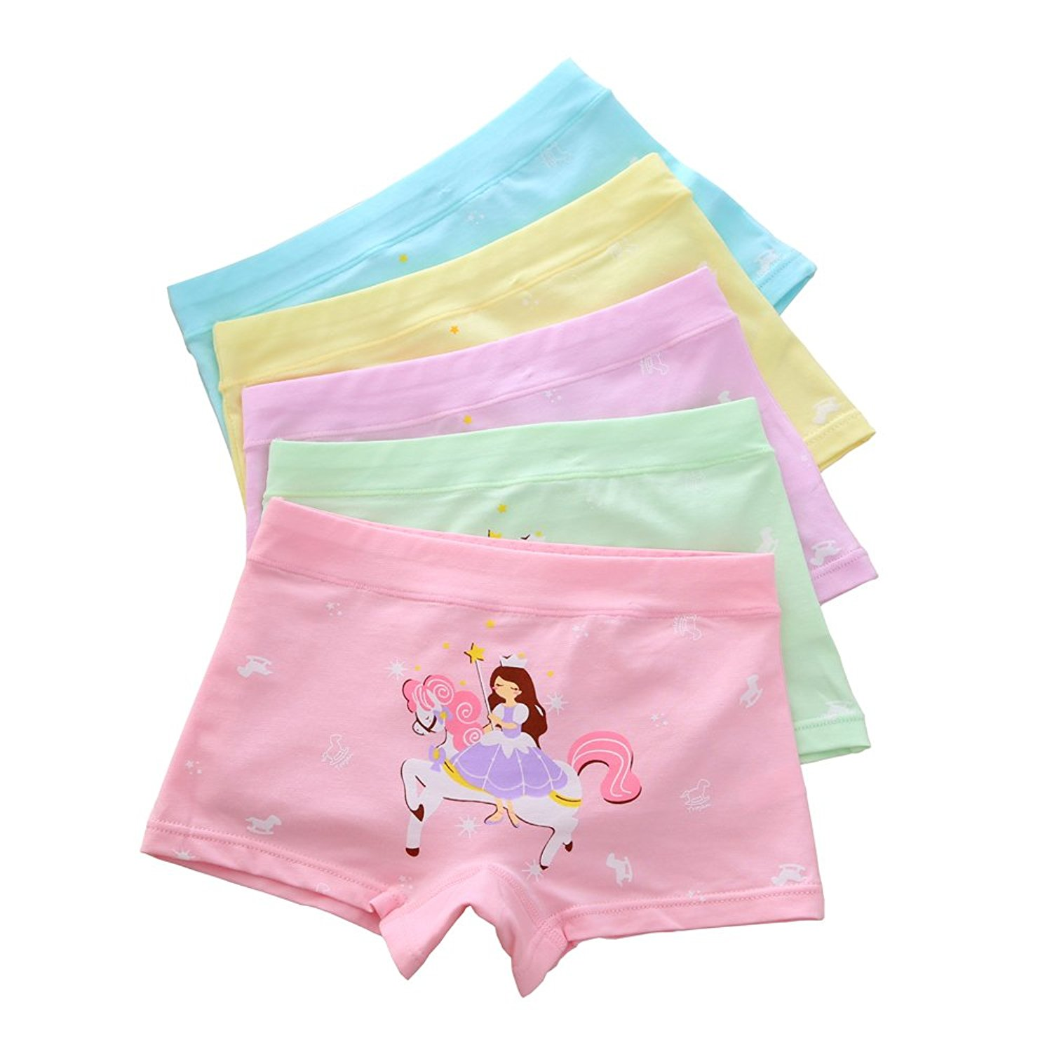 Jiaboy 5 Of Pack Girls Panties Princess Print Little Girls Underwear Cotton Boyshorts Hipster Kids Briefs 3-10 Years