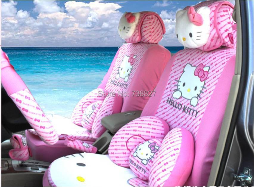 10pcs set car covers pink hello kitty accessories seat - Hello kitty car interior accessories ...