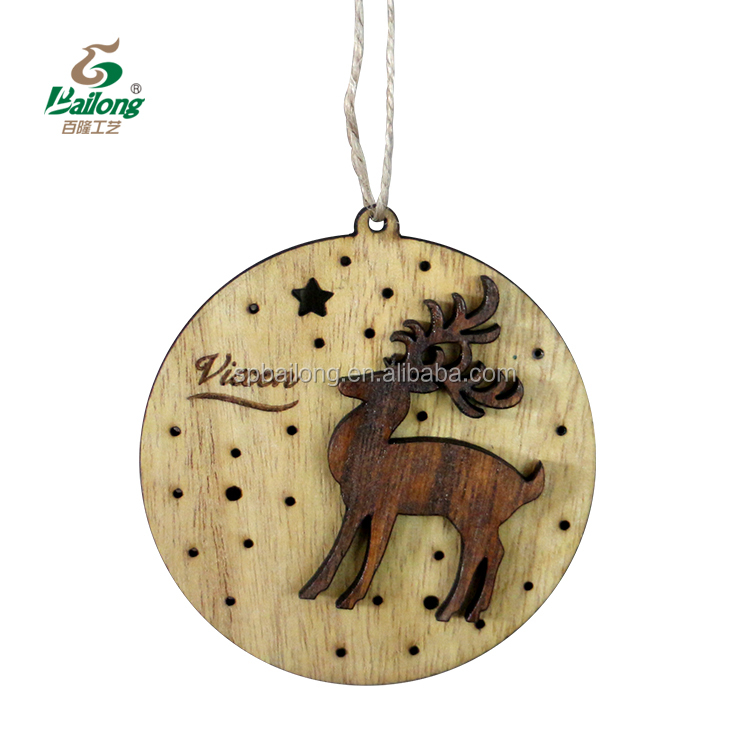Professional factory custom home decor engraved moose laser cut hanging wood craft ornaments christmas decoration