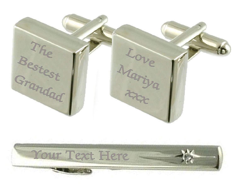 Bestest Grandad Engraved Cufflinks Tie Clip Box Set