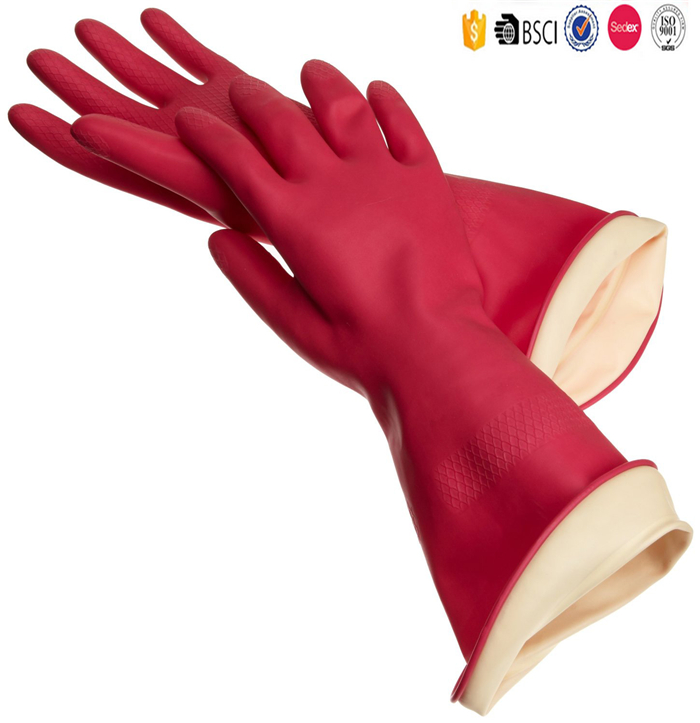 Wholesaler Double Colors PVC Slip-on Household cuff Long Sleeve Latex Gloves