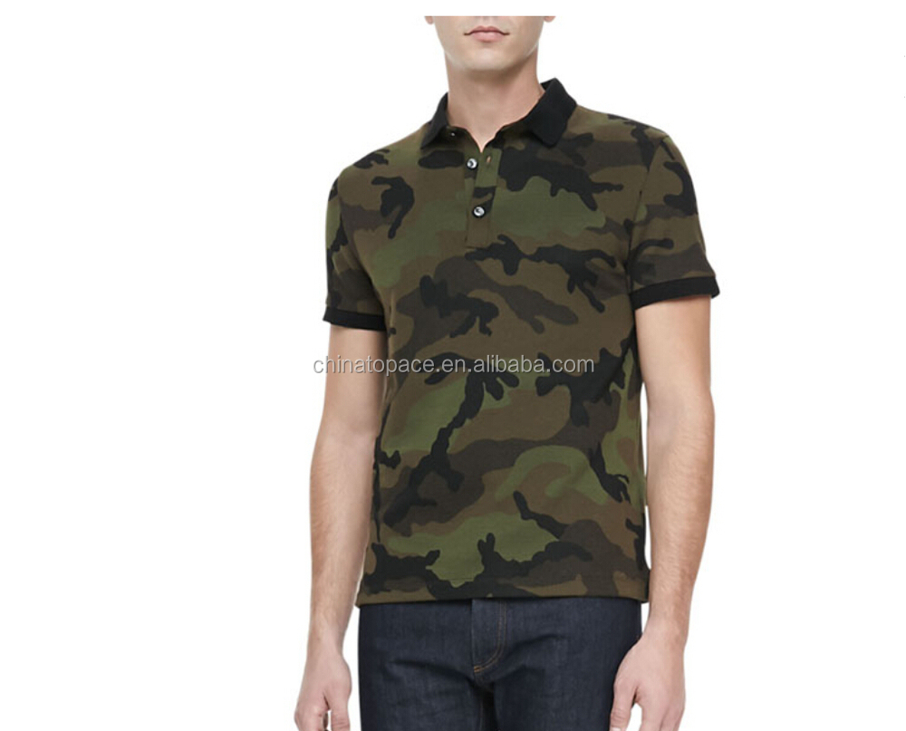 13cfd0e8 100% Cotton knitting pique fabric brand police camouflage polo shirt mens  blank camo polo t shirts