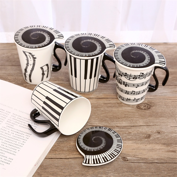 Creative Lovers Musical Note Piano Key Ceramic Coffee Mug With Cover