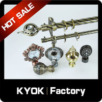 High quality metal curtain rod finial home decor, decorative glass curtain rod finial