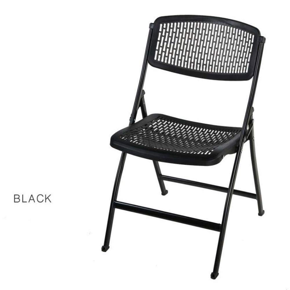 Plastic Folding Backrest Chair Stool Business Office Exhibition Training Chair Folding Computer Chair Breathable Hollow Casual Chair (Color : Black)