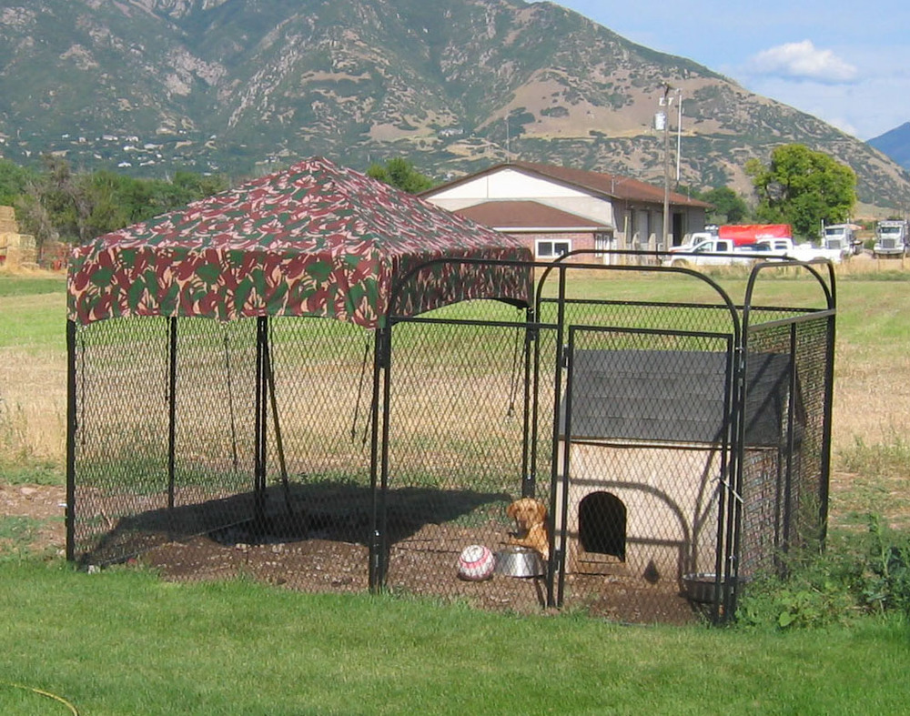 Dog kennel cover house outdoor cage fence large pen for Huge dog pen