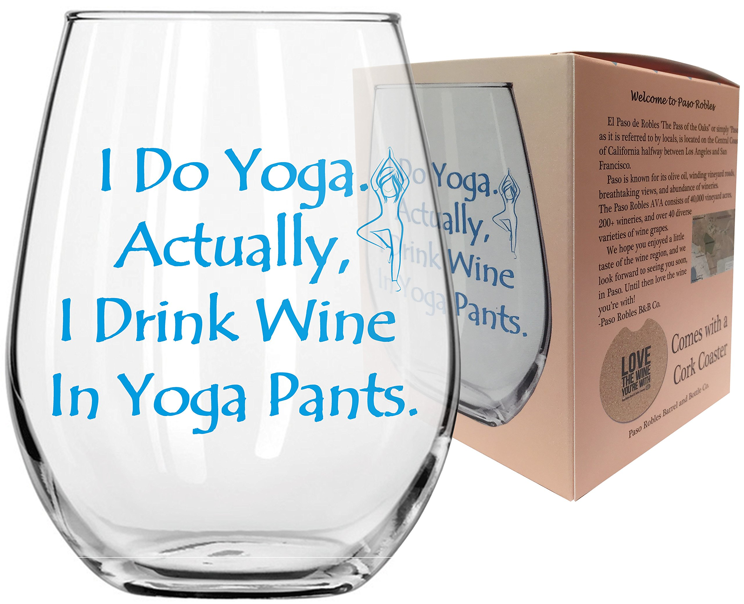Funny Yoga Wine Glass with sayings - I USED to do YOGA Wine Glass - I Drink wine in YOGA Pants - 17oz ounce Stemless wine glass w/Coaster - Gift Box (I Drink Wine in Yoga Pants)