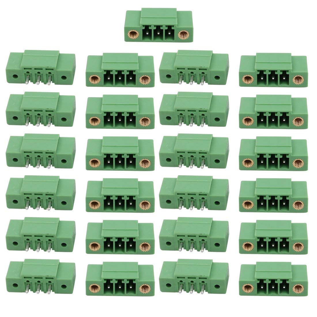 uxcell 25Pcs LZ1VM AC300V 8A 3.5mm Pitch 3P PCB Terminal Block Wire Connection