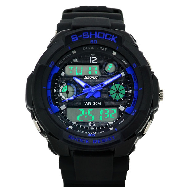 2015 skmei G style 0931 s-shock women&men outdoor sports 3atm waterproof dual japan quartz&digital multifunctional diver watch