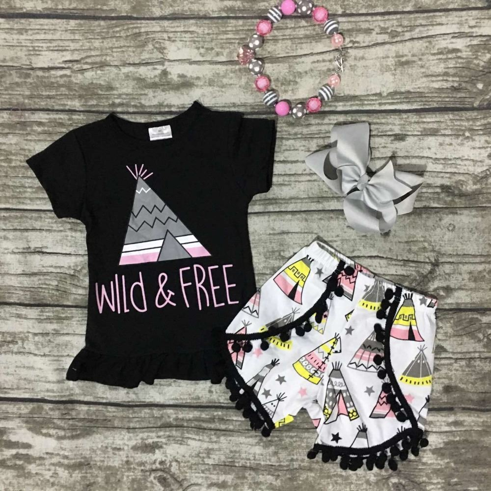 c96843c7d8e5 Baby Girls Wild Free Clothing Girls Summer Outfits Wild And Free ...