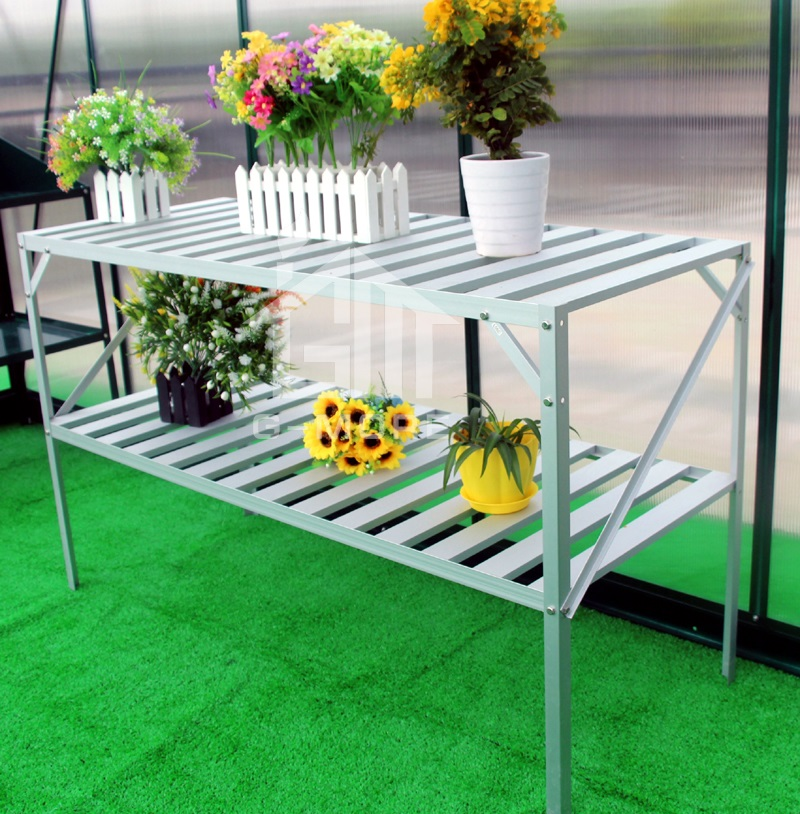 G-MORE Hot Selling Fast Assembly Greenhouse Aluminum Shelving / Greenhouse Accessories Two Tier Staging