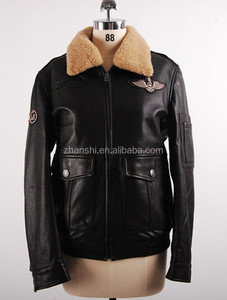 34970d19a Russian Style High Quality Men Black Leather Jacket With Fur Collar