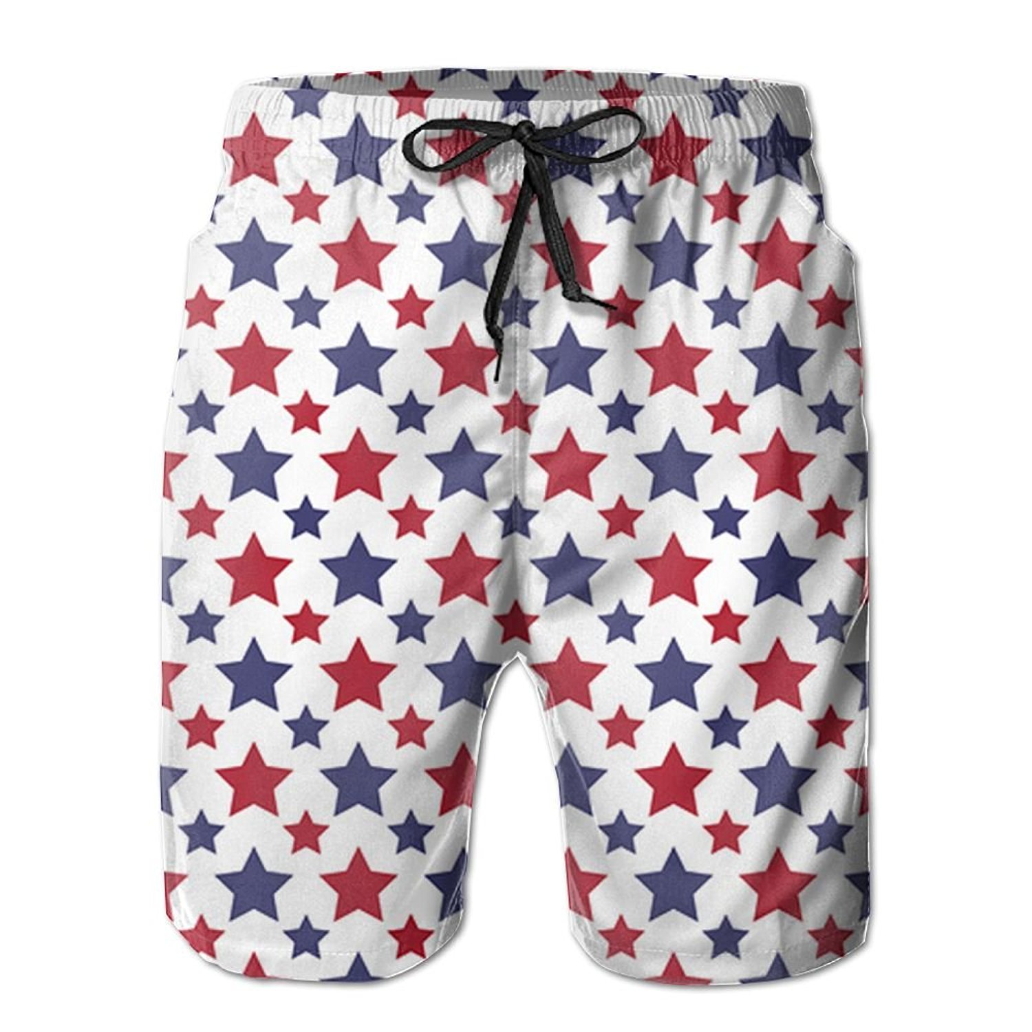 96101a9c20 Get Quotations · Suining Red and Blue Stars White Background Swim Beach  Trunks Cargo Shorts For Mens