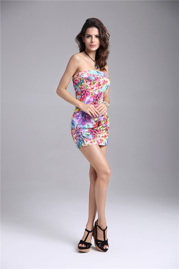 1252fe0b7a6d 2017 floral print sexy hot girls  beach wrapped chest mini tight dress off  the shoulder