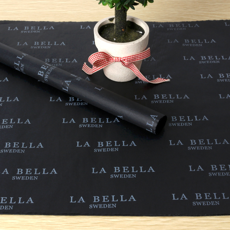 Custom black garments wrapping tissue <strong>paper</strong> with white printed