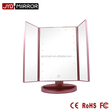 Plastic material 3 ways desktop mirror type makeup mirror with light bulbs