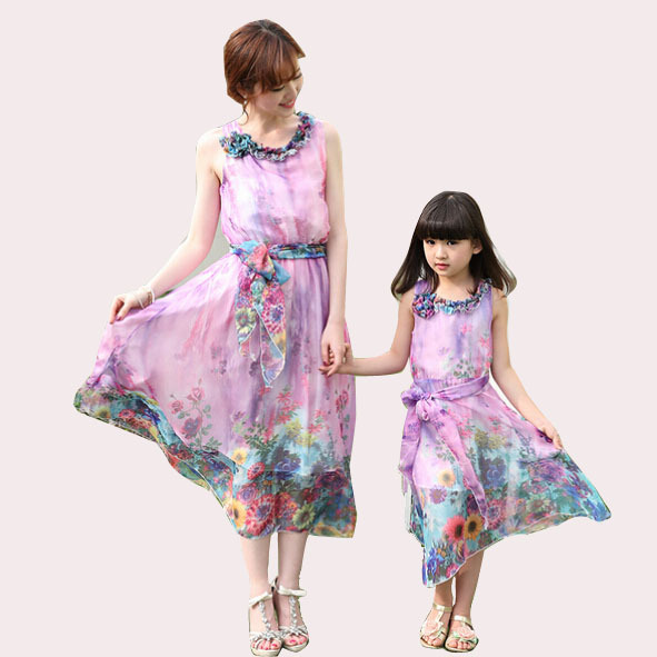 80c9978f4b4a Get Quotations · New 2015 Summer Style Family Clothing Chiffon Bohemian  dress matching mother daughter clothes Girls dress AE