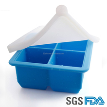 FDA&SGS eco-friendly customized 4 cavity silicone food preservation box