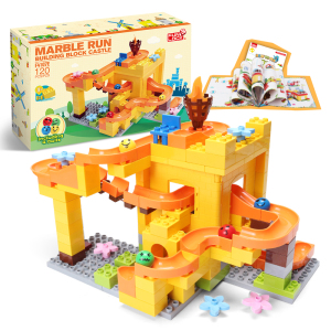 Funlock Duplo 120pcs Marble Race Run Slide Construction Building Blocks Set Creative Educational Toys Building Bricks for Kids