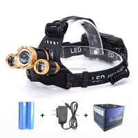 Wholesale Zoomable LED Head Torch Brightest Camping Head Lamp 2000 Lumens XM-L T6 LED Headlamp
