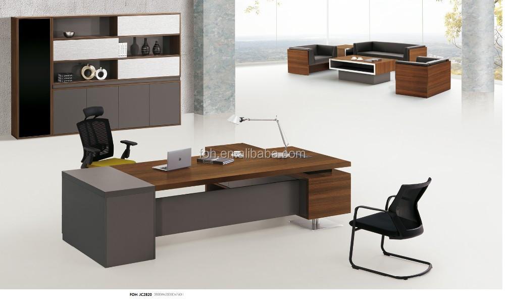 Moderne en bois bureau président grand bureau en forme de l foh