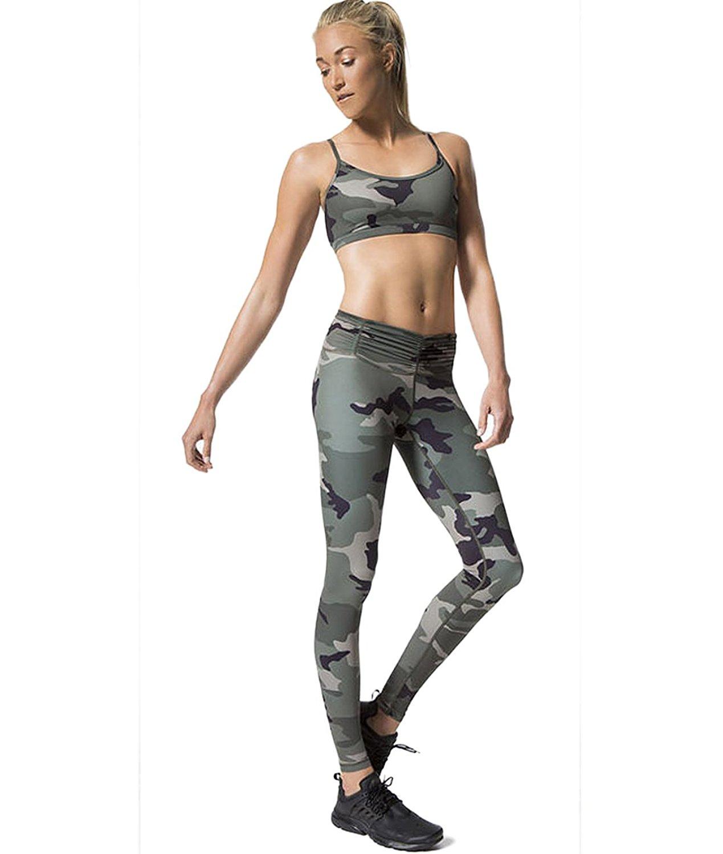 44402a51d52 Get Quotations · Pink Peach Women s Yoga Leggings High Waist Camo Running  Sports Pants Slim Fit