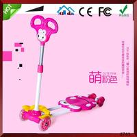 Swiss Design 3 Wheels 4 Wheels Kids Push Breaststroke Scooter Foldable Maxi Plastic Kiddie Frog Scooter with T-bar