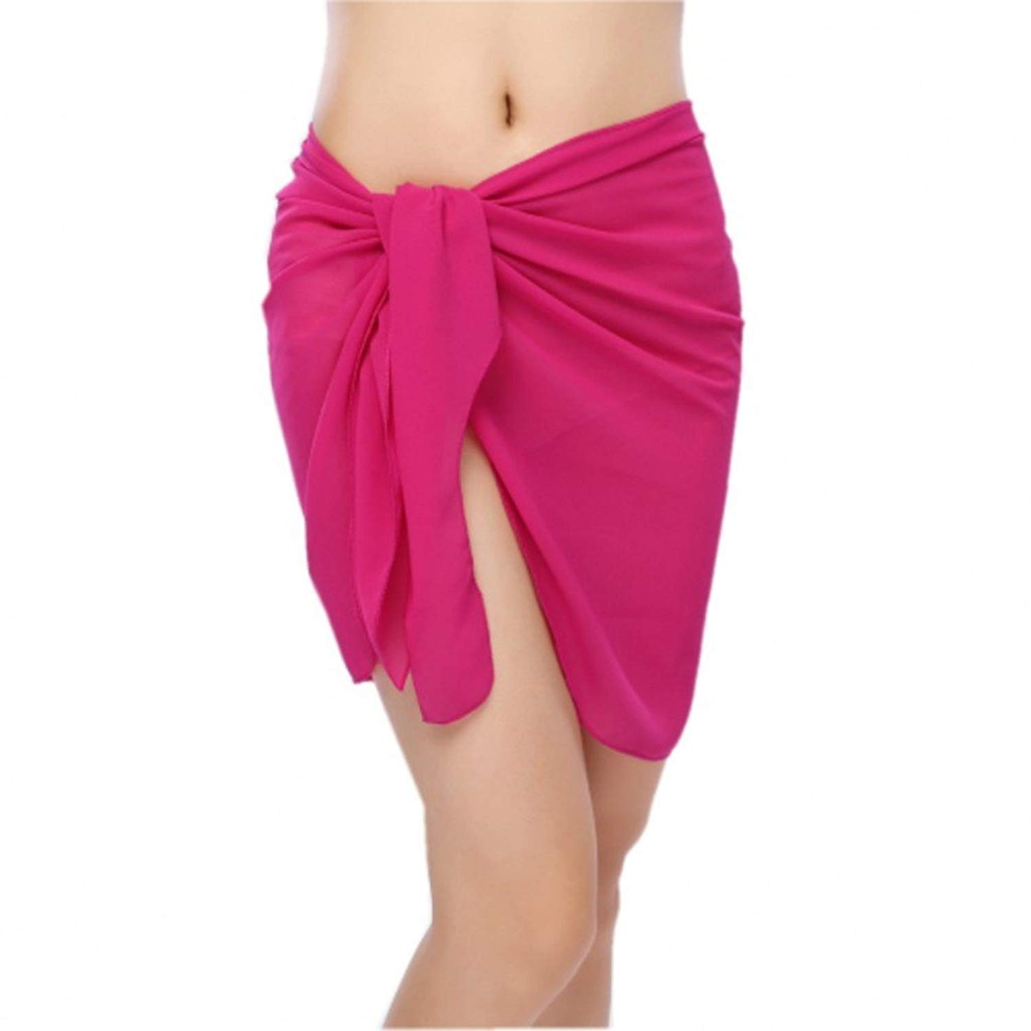 f079637149 Get Quotations · Bitefuyw Sheer Chiffon Swim Beach Short Sarong Wrap Pareo Swimsuit  Wrap Skirt Cover-up Solid