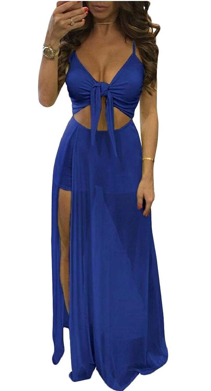 323b65647485 Get Quotations · Yayu Women Sexy V Neck Split Sexy Jumpsuit Sheer Bodycon  Overlay Clubwear Long Maxi Dress