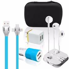 Car and Hotel Use All In One Mobile Phone Charging Accessories kit for Micro, USB C and IOS
