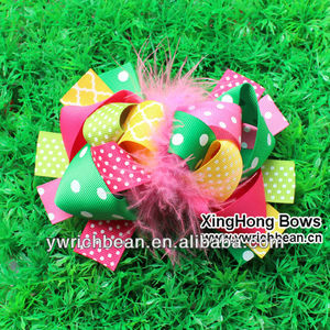 2014 new colorful boutique bows girls hair accessories