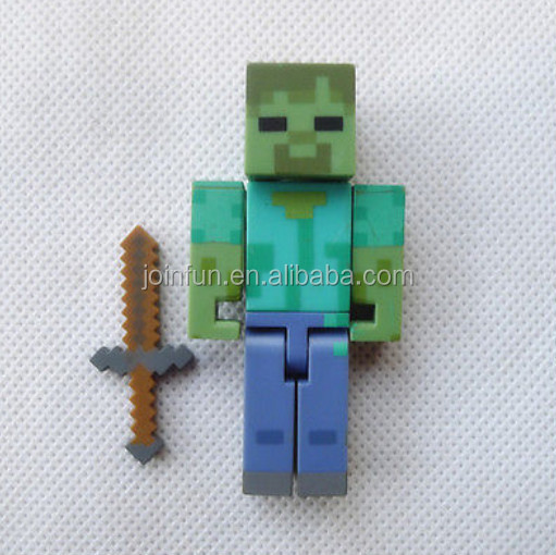 "custom 3"" Zombie with Sword Action Figure,custom make 3'' plastic injection action figure with sword"