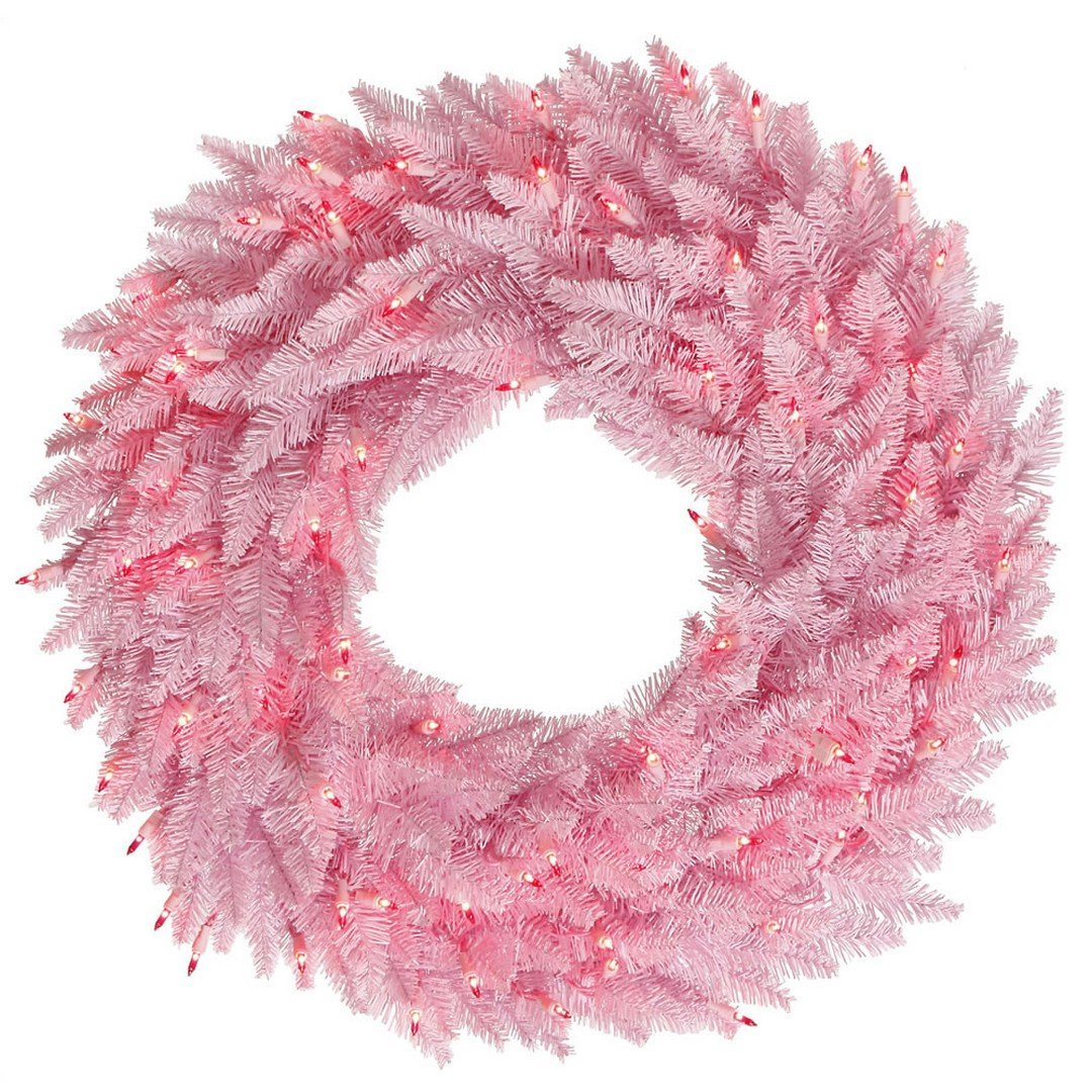 """Vickerman K163825LED Wreath with 210 PVC Tips & 50 Dura-lit LED Italian Style lights on Wire, 24"""" x 24"""", Light Pink"""